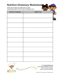 vocab worksheets printable printable nutrition vocabulary word and healthy facts worksheet