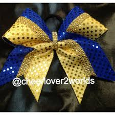 blue and gold ribbon blue and gold cheer bows products on wanelo
