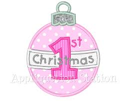 baby u0027s first christmas ornament round applique machine embroidery