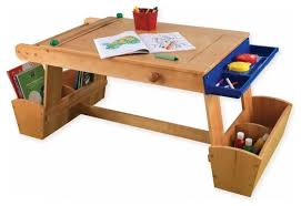 Toddler Table And Chairs Wood Art Table With Drying Rack And Storage Transitional Kids
