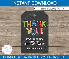 trampoline party favor tags thank you tags