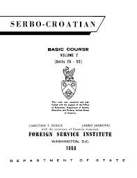 FSI Serbo Croatian Basic Course Volume 2 Student text
