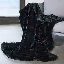 plaid canapé noir plaid en fausse fourrure fourrure synthétique imitation fourrure