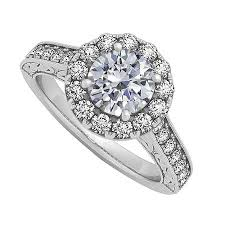 cubic zirconia halo engagement rings buy lbj l5020376wrs7 cubic zirconia halo engagement ring in white