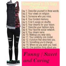 day 1 describe yourself in 3 words polyvore