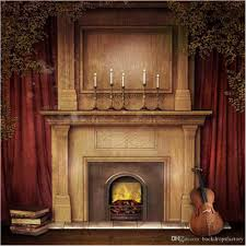 2017 red curtain fireplace photography backdrops christmas guitar