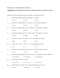 triangle inequality theorem activities and assessment methods