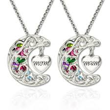 platinum plated necklace images To the moon and back cage mom mum necklace platinum plated jpg