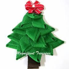 3d christmas tree ribbon sculpture hair clip or pin 5 00 via