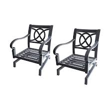 Patio Spring Chair by Shop Allen Roth Set Of 2 Newstead Gray Textured Aluminum Slat
