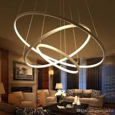 circular led light strip modern circular ring pendant lights 3 2 1 circle rings acrylic