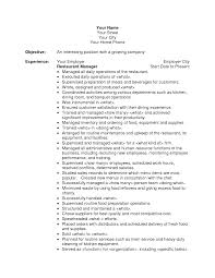 resume objective for restaurant manager samples lovely resume
