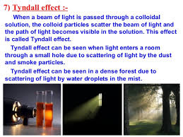 the scattering of light by colloids is called is matter around us pure