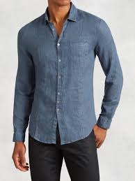 john varvatos linen shirt in blue for men lyst