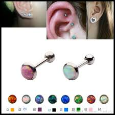 stud for ear 1pc fashion opal ear cartilage tragus piercing assorted colors