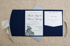navy blue wedding invitations rustic etched roses pocketfold wedding invitation be my guest