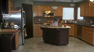 glass countertops kitchen paint colors with light oak cabinets