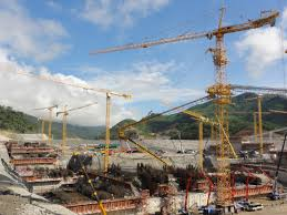 potain tower cranes building 3 8 billion dam in laos crane