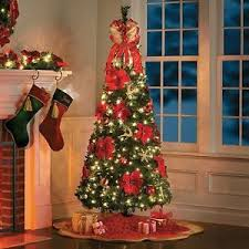 6 5 foot pre lit decorated poinsettia pop up tree decor