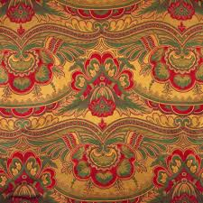 1 yard brocade red green gold paisley home decor or upholstery 8 00