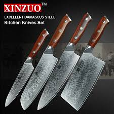 Damascus Kitchen Knives For Sale Xinzuo 4 Pcs Kitchen Knife Set Damascus Steel Kitchen Knife Set