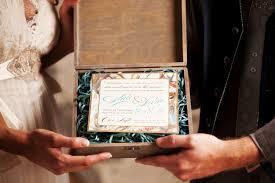 watercolor invitation inside wooden box inspire design studio