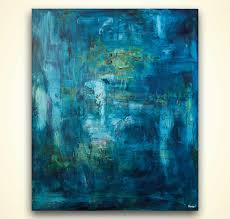 abstract painting blue textured abstract art home decor 8081