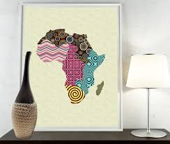 africa map fabric print map decor wall map