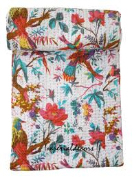 indian kantha quilt bird of paradise kantha rallies bohemian