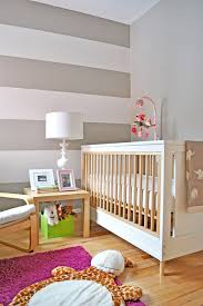 Bright Purple Rug Baby Nursery Girls Nursery Features Brown Bold Striped Wall Also