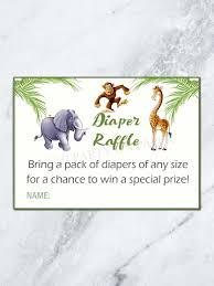 jungle diaper raffle card baby shower diaper raffle card jungle