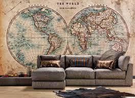 the world in hemispheres vintage world map wall mural