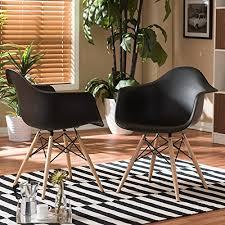Mid Century Modern Plastic Chairs Baxton Studio Pascal Plastic Mid Century Modern Shell Chair Black