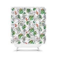 Tropical Beach Shower Curtains by Tropical Shower Curtain Jungle Green Palm Leaves Green Bathroom