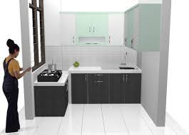 Kitchen Set Minimalis Hitam Putih Kitchen Set Minimalis Bentuk U Finishing Hpl Corak Granit Dan Rak