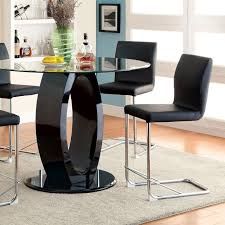 glass counter height table sets lodia black round glass top counter height table set shop for