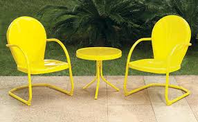 Yellow Bistro Chairs Backyard Creations Woodstock 3 Yellow Bistro Patio Set At