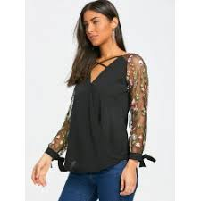 criss cross blouse wholesale criss cross semi sheer embroidered blouse in black 2xl