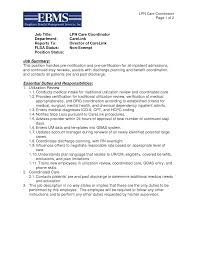 Nursing Jobs Resume Format by Lpn Care Coordinator Resume Template Essential Duties And