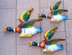 ceramic flying duck retro wall hanging midcentury home decor