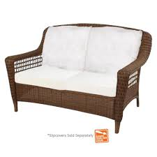 Brown Wicker Patio Furniture Hampton Bay Spring Haven Brown Wicker Patio Loveseat With Cushion