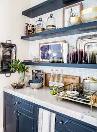 Small Kitchen Ideas Backsplash Shelves by Cabinets U0026 Storages Blue Modern Stylish Kitchen Cabinet Open