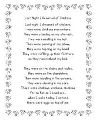 i dreamed of chickens by prelutsky poetry center pack