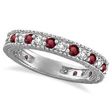 ruby bands rings images Diamond ruby anniversary ring band 14k white gold 1 08 ctw allurez jpg