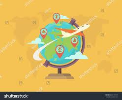 World Globe Map Travel Around World Globe Map Pin Stock Vector 301390349