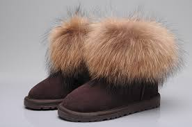 ugg s boots chocolate fox fur mini boots 5854 chocolate