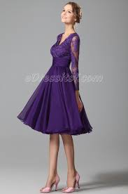 new purple cocktail dress party dress with long lace sleeves