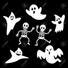 background of halloween set ghosts and skeleton of halloween day on black background