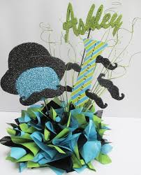 ultra creative blue green mustache baby shower centerpiece ideas