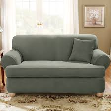 Slipcovers For Loveseats With Two Cushions Fit Stretch Suede T Cushion Loveseat Slipcover